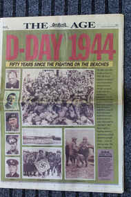Newspaper - The Age - dated 6/6/1995 - 50 years Anniverary D-Day 1944, Newspaper = The Age - dated 6/6/1995 - 50 yrs Anniverary D-Day 1944