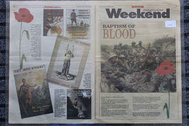 Newspaper - Herad Sun Weekend Magazine Dated 28/8/1993 - Baptism of Blood, Newspaper - Herald Sun Dated 28/8/1993 - Baptism of Blood