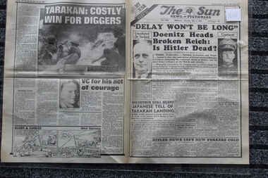 Newspaper - The Sun My War Part 52 Dated 3/5/1945, Delay won't be bellong - Doenitz Heads Broken Reich : Is Hitler Dead?