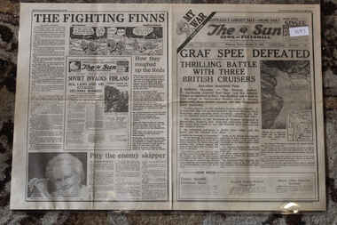 Newspaper - The Sun Dated 15/12/1939 - My War Part 4 - Graf Spee Defeated, Local Newspaper 15/12/1939 Special reporting World War 2 news