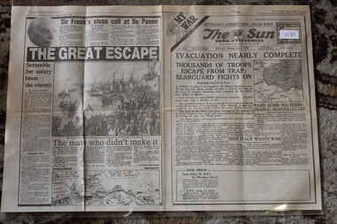 Newspaper - The Sun Newspaper Dated 3/6/1940 - My War Part 6 - Evacuaton Nearly complete - Dunkirk, Local Newspaper Coverage of World War 2 = Dunkirk