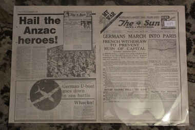 Newspaper - The Sun Newspaper Dated 15/6/1040 - My WarPart 7 - German s March into Paris, Local Newspaper with coverage of World War 2 dated 15/6/1949