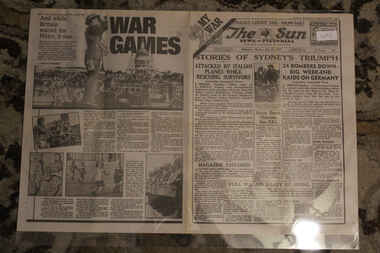 Newspaper - The Sun Dated 22/7/940 - My War Part 8 - HMAS Sydney Attacked by Italian Planes = Sydney Triumph, Stories of Sydney's Triumph - The Sun Newspaper Dated 2/7/1940 - Special - My War Part 8