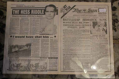 Newspaper - The Sun Newspaper = Special - My War Part 15 Dated 28/5/1941 - Battleship Bismarck Sunk = The Hess Riddle, Local Newspaper reporting on World War 2 Dated 28/5/1941 - My War Part 15