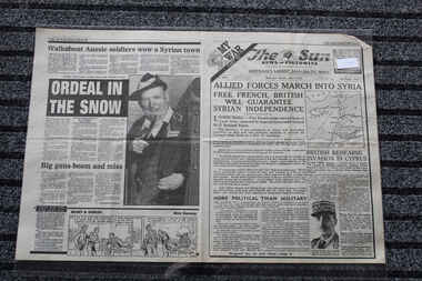 Newspaper - The Sun Newspaper Dated 9/6/1941 - Special - My War Part 16 - Allied Forces March Into Syria, Local Newspaper Dated 9/6/1941 - Reporting on Events Of World War 2