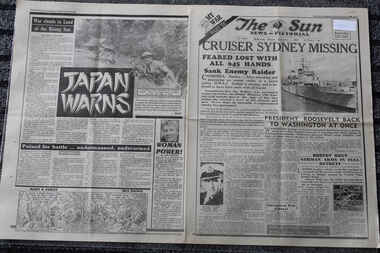 Newspaper - The Sun Newspaper Dated 1/12/1941 - Special _ My War Part 19 - Cruiser Sydney Missing - Our Day Of Sorrow, Local Newspaper Dated 1/12/1941 - Special - My War Part 9 - Cruiser Sydney Missing