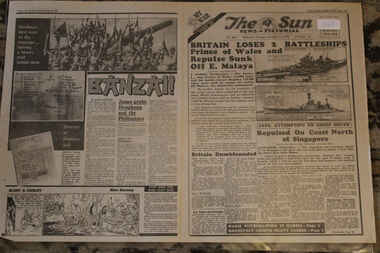 Newspaper - The Sun Nespaer dated 11/12/1941 - Special - My War Part 21 - Britain Loses 2 Battleships - HMAS Repulse and Prince of Wales, Local News Paper reports on World War 2 Events dated 11/12/`941 - My War Part 21