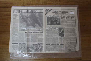 Newspaper - The Sun Newspaper Dated 11/9/1942 - Special - My War Part 32 - Japs Advance On Moresby - The Kokoda Horror, Local Newspaper reporting On Events Of World War 2 - dated b11/9/1942 - Special - My War Part 32
