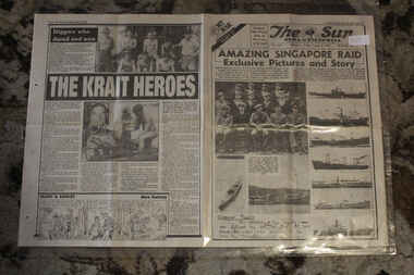 Newspaper - TThe Sun Newspaper Dated 2/8/1943 - Special - My War Part 37 - Amazing Singapore Raid - The Krait Heroes - Hilter's U-boat Disaster, Local Newspaper Dated 2/8/1943 Reporting on World War 2  Events - Special - My War Part 37