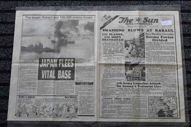 Newspaper - The Sun Newspaper Dated 15/10/1943 - Special - My War Part 40, Local Newspaper Dated 15/10/1943 - Reporting on World War 2 Events - Smshing Blows at Rabaul - Japan Flees Vital Base