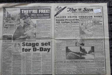 Newspaper - The Sun Newspaper Dated 6/6/1944 - Special - My War Part 42 - Allies Drive Through Rome - The Hero's Of Shaggy Ridge, Local Newspaper reporting on World War 2 Events - Special - My War Part 42