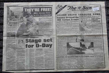 Newspaper - The Sun Newspaper dated 5/6/1944 - Special - My War Part 42, Local Newspaper dated 5/6/1944 _Special _ My War Part 42 - Allies Drive Through Rome - The Heroes of Shaggy Ridge