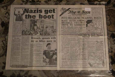 Newspaper - The Sun Newspaper Dated 4/9/1944 - Special - My War Part 45, Local Newspaper Dated 4/9/1944 -Specil- My War Part 45 - Into Belgium : hearing Riech - The Great Marianas Turkey Shoot