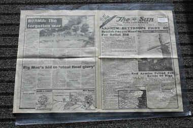 Newspaper - The Sun Newspaper dated 27/9/1944 - Special - My war Part 46, Local Newspaper reporting on World War 2 events - Special My War Part 46 - Arnhem Skytroopers Fight On = Burma The Forgotten War