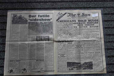 Newspaper - The Sun Newspaper daed 28/12/1944 - Special -  My War Part 48, Local Newspaper dated 28/12/1944 reporting on World War 2 Events - Americans Hold Bulge - Our Futile Sideshow