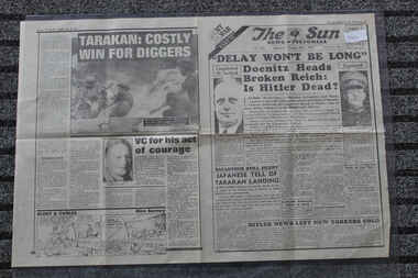 Newspaper - The Sun Newspaper Dated 3/5/945 - Special - My War Part 52, Local Newspaper Dated 3/5/1945 - Special - My War Part 52 - Delay Will Not Be Long - Butchers Of Belsen - Tarakan: Costly for Diggers