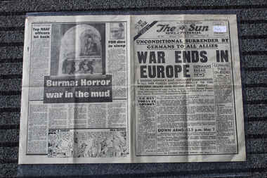 Newspaper - The Sun Newspaper Dated 8/5/1945 - Special - My War Part 53, Local Newpaer Dated 8/5/1945 -  Special - My War Part 53 - Unconditional Surrender By Germans to All Allies - Burma Horror War in The Mud