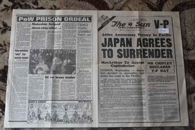 Newspaper - The Sun Newspaper dated 15/8/1945 - special- My War Part 155 - 2 off, Local Newspaper dated 15/8/1945 - Special - My War Part 155 - 2 Copies - Japan Agrees to Surrender , Lest We Forget