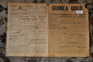 Newspaper - Guinea Gold Newspaper dated 4/12/1942, Newspaper Guinea Gold Dated 4/12/1942 - Hammering of Nazis Continuing in Russia - News In Brief From The Mainland