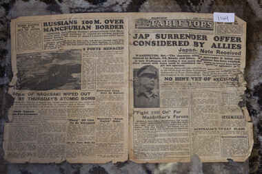 Newspaper - Table Tops Newspaper Dated 12/8/1945, 1st Australian Press Unit, A.I.F. Table Tops Newspaper dated 12/8/1945 - Jap Surrender Offer Considered By Allies