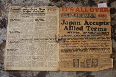 Newspaper - Table Tops Newspaer Dated 16/8/1945, 1st Australian Press Unit, A.I.F, Table Tope Newspaper Dated 16/8/1945