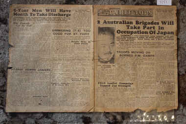 Newspaper - Table Tops Newspaper Dated 19/8/1945, 1st Australian Press Unit A.I.F. Table Tops Newspaer Dated 19/8/1945