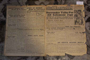 Newspaper - Table Tops Newspaper Dated 29/8/1945, 1st Australian Press Unit A.I.F Table Tops Newspaper Dated 29/6/1945