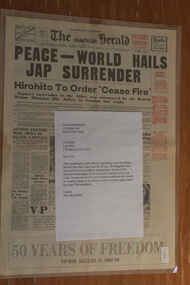 Newspaper - The Herald Newspaper Dated 15/8/1945 (2 Off), Victory Edition - Peace = World Hails Jap Surrender and pictures Americas Mighty Part (2 Off)