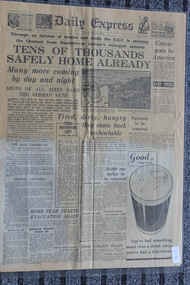 Newspaper - The Daily Express Newspaper Dated 31/5/1940, Dunkirk -Tens of Thousands Safely Home Already - Three Destroyers Lost - omb Fear Starts Evacuation Again