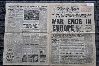 THe Sun Newspaper Dated 8/5/1945, Unconditional Surrender By Germans to All Allies - War Ends in Europe