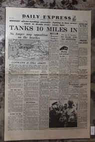 Newspaper - Daily Express UK Newspaper Dated 7/6/1944 - D_Day Continues - Tanks 10 Miles In, UK Newspaper