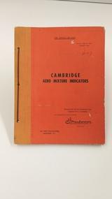 Booklet - Instruction book, Cambridge Aero Mixture Indicators, 1943