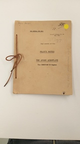 Booklet - Pilots Notes Manual, The Anson Aeroplane, Two Cheetah Engines