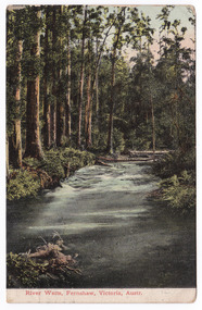 A colour photograph of the River Watts flowing through a forest. There are rapids in the river and a number of fallen trees lie across the river. There is a fallen tree in the foreground. The photograph appears to have been taken either early in the morning or at sunset. On the reverse of the postcard is a handwritten address in black ink. In the upper right hand corner is a Victorian postage stamp.