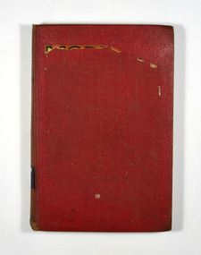 The cover is red. It appears that the book's dust cover has been removed and the picture from the front cover had been adhered to the front cover. That has been partly removed leaving behind residue. The title of the book and the author's name are in black on the front cover.