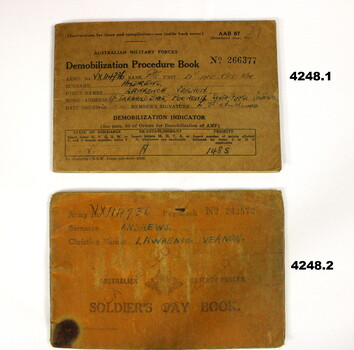 Pay and demobilization Booklets 2nd AIF