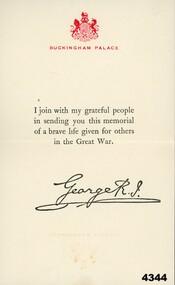 The Kings message to all KIA WW1