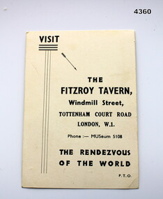 Advertising card for Fitzroy Tavern London