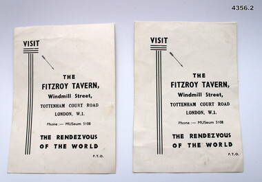 Advertising card for the Fitzroy Tavern London
