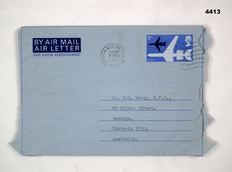 Address panel of an airmail letter to F.G. Davey.
