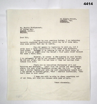 Letter from F.G. Davey to Martin Middlebrook.