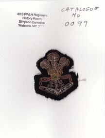 Badge, 4th/19th Prince of Wales's Light Horse Regiment, c 1965