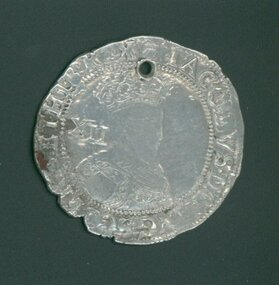"""Coin, 1603AD James I Shilling, Untitled, Shilling Coin, James I of England,1603AD (S2645), Minted in 1603, the first year of the reign of King James I of England (James VI of Scotland).  """"First Coinage"""", shown by the 'thistle mark"""