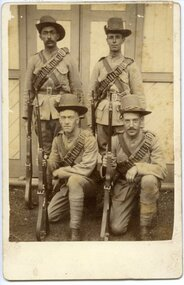 Four Boer War Soldiers, ca1899, Four Boer War Soldiers, including Henry RP Mitchell, ca1899