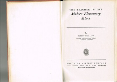 Book - Reference Teaching Infants, The Teacher in the Modern Elementary School, 1941