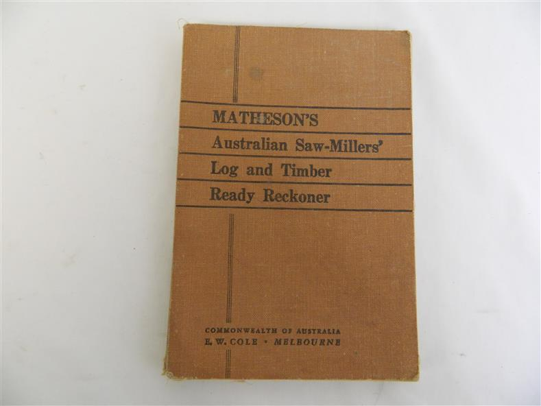 Book - Trade - Matheson's Australian Saw - Millers' Log and