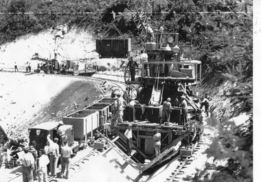 Photograph – Photocopy of black and white photograph of Bogong Creek Race Line. 17/1/51, 17/01/1951