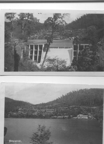 Two black and white photos, Photo downstream view of Junction Dam Wall and photo of Bogong Village and Lake Guy, c1950