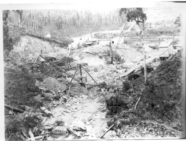 Black and white photo of Junction Dam wall under construction, c1940