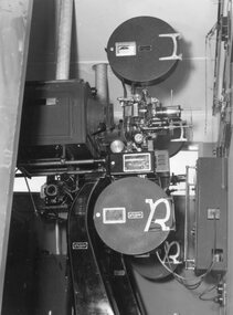 Photograph – Black and white photograph of an unidentified piece of equipment (possibly projection equipment) presumably  used by SECV Hydro